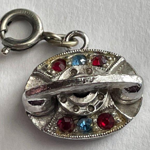 VTG Monet Telephone w/Rhinestones Silver Charm